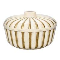 2-Pc Syroco Gold & Cream White Striped Circus Inspired Dusting Powder Box w/ Original Lid
