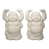 c1970s Set of 2 Benihana Happy Buddha Hands Up White Ceramic Tiki Bar Mug Glass
