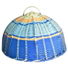 """c1960s Blue, Orange & Yellow 13"""" Vinyl Wire Outdoor Picnic / Camping Food Cover"""