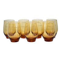 Set of 7 Libbey Tempo Amber Glass Drinking Tumbler Glasses