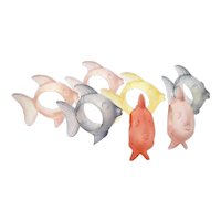 Set of 7 Colorful Frosted Lucite Fish Figural Napkin Holder / Rings