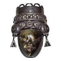 Los Ballesteros Signed Sterling Silver Large Tribal Face Mask Carved Obsidian Stone Pendant / Brooch / Pin