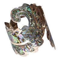 Los Ballesteros Signed Sterling Silver Large & Wide Abalone Shell Scrollwork Style Cuff Bracelet