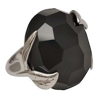 Blade Designer Sterling Silver Large Faceted Honeycomb Cut Black Onyx Leaf Accent Cocktail Ring - Size 7.5