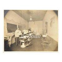 "c1890s Men in Victorian Barber Shop / Men's Grooming Salon 9 x 12"" Original Cabinet Card Photo"