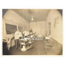 "c1890s Men in Victorian Barber Shop / Men's Grooming Salon 9 x 12"" Original Cabinet Card Photo"