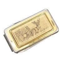 Signed Barlow Deer Scrimshaw Style Money Clip w/ Pocket Knife & File