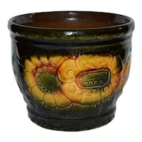 West Germany Signed Yellow Sunflower Deep Green Glazed Ceramic Pottery Planter