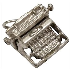Sterling Silver Mechanical / Moving Carriage Typewriter Figural Charm