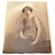 c1910 Belle Epoque / Art Deco Lady Flapper Original 8x10 Portrait B&W Photograph / Shadow Art Photography