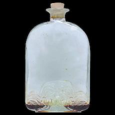 c1920s Embossed Art Deco Molded Glass Perfume Bottle w/ Original Cork Stopper