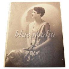 c1910 Belle Epoque / Art Deco Lady Flapper Original 8x10 Portrait B&W Photograph / Shadow Art Photography