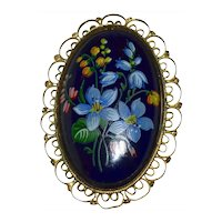Large Hand Painted Black Victorian Style Blue Forget Me Not Flower Ornate Filigree Oval Brooch