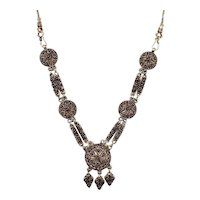 Chunky Sterling Silver & Garnet Cabochon Etruscan Style Chandelier Dangle Statement Necklace