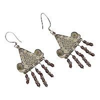Large Sterling Silver & Garnet Etruscan Revival Triangular Chandelier Dangle Earrings