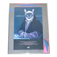Signed & Dated Braldt Bralds GORGEOUS VII ANNO 1983 Distinguished Cat Large 22x16 Framed Outsider Art Exhibit Poster
