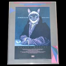 Signed & Dated Braldt Bralds GORGEOUS VII ANNO 1983 Distinguished Cat Large 22x16 Framed Outsider Art Exhibit Poster