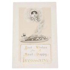 c1913 John Winsch Rare & Unusual Lady's Head Emerging from Piping Hot Turkey Thanksgiving Holiday Postcard - Unused!