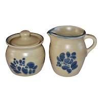 Pfaltzgraff Folk Art Pattern 3-Pc Ceramic Pottery Creamer & Sugar Bowl w/ Original Lid
