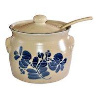 New Old Stock Pfaltzgraff Folk Art Pattern Ceramic Pottery 3.5 Qt Tureen with Original Lid & Ladle