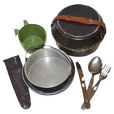 c1950s 10-Pc Aluminum Mess Kit / Camping Cookware w/ Flatware Utensils
