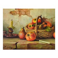 c1960s Robert Chailloux Still Life w/ Basket of Apples Hardboard Art Print