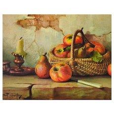 c1960s Robert Chailloux Still Life w/ Basket of Apples Hardboard Art Print
