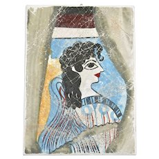 """La Parisienne"" Painting of Minoan Woman or Goddess from the Palace of Knossos Chalkware Souvenir Greek Wall Plaque"