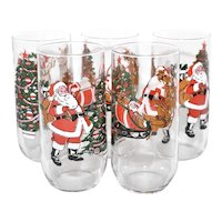 Set of 5 Santa Claus w/ Sleigh & Reindeer and Christmas Tree w/ Bag of Toys Holiday Glassware / Glasses