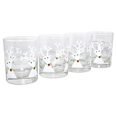 Set of 4 Mid-Century Modernist White Christmas Reindeer Old Fashioned Barware / Cocktail Glasses