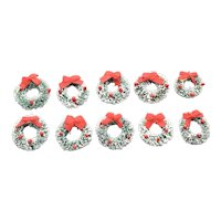 Set of 10 Snow-Covered Green Bottle Brush Christmas Wreaths w/ Red Fabric Bows & Holly Berries Dollhouse Miniatures
