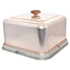 c1950s Mirro Mid-Century 2-Pc Pink Aluminum Square Cake Keeper / Server / Carrier