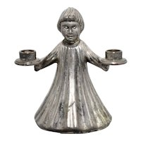Small Italian Choir Girl or Christmas Angel Mini Taper Silver Plate Pot Metal Candle Holder