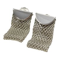 Quality Made Folded Mesh Disco Style Silver Tone Clip Earrings