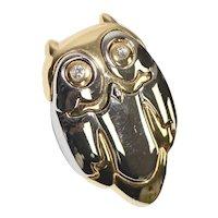 Liz Claiborne Signed Two Tone Modernist Style Puffy Owl w/ Rhinestone Eyes Brooch/Pin