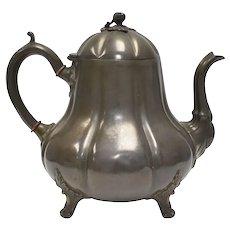 Rare c1870s Joseph Fenton & Sons Sheffield England Britannia Metal Pewter Alloy Gourd Figural w/ Acorn Finial Tea Pot