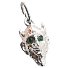 Signed Sterling Silver Horned Devil w/ Green Rhinestone Eyes Figural Halloween Charm