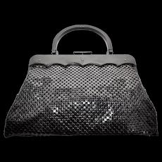 c1950s Whiting & Davis Black Mesh w/ Scalloped Lucite Clasp Large Handbag Purse