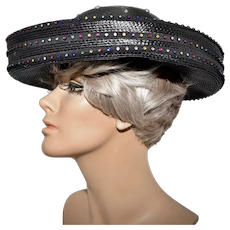 c1980s Bezel Set Multi-Colored Faceted Rhinestone Black Wide Upturned Brim Hat