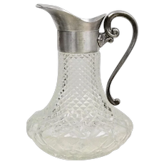 "Italian Made 10"" High Diamond Point Cut Glass Pitcher w/ Ice Lip Pewter Handle Pitcher"