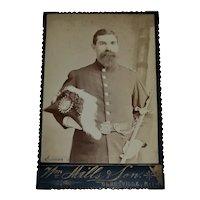 Identified Freemason Simon Warren of Olneyville, RI - Gentleman w/ Plume Hat & Scepter Masonic Shriner Cabinet Card Photo