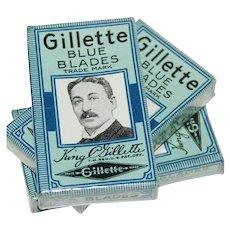 """c1910 King Gillette 5 """"Blue Blades"""" in Original Sealed Package"""