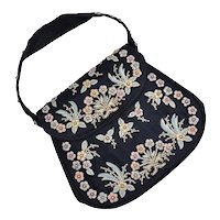 c1960s Marketa of Rio de Janeiro Designer Floral Embroidered & Faux White Pearl Beaded Black Fabric Evening Handbag / Purse