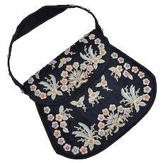c1960s Marketa of Rio de Janeiro Designer Floral Embroidered & Faux White Pearl Beaded Black Fabric Evening Handbag / Purse