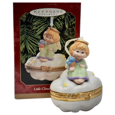 "c1999 Hallmark Keepsake Ornament ""Little Cloud Keeper"" Angel on a Cloud Porcelain Hinged Box Christmas Ornament in Original Box"