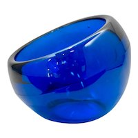 Mid-Century Viking Glass Cobalt Blue Glass Orb Candy Dish, Non-Indented Sphere Ashtray or Bowl