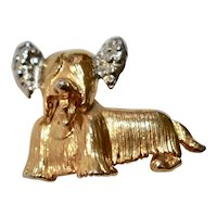 Gold & Silver Colored Two Tone Yorkshire Terrier or Shih Tzu Shaggy Dog Figural Brooch / Pin