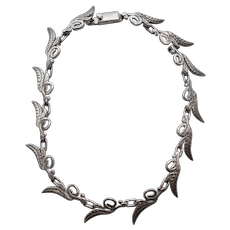 Signed Taxco Sterling Silver Feather or Leaf Motif Scrollwork Hinged Choker Necklace