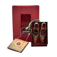 "Never Used Dillard's Cloisonne ""Christmas Poinsettia"" Pair of Hinged Strap High Heel Shoes in Original Velvet Box Christmas Ornament - Perfect Gift for the Shoe Lover"