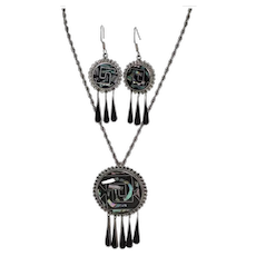 Taxco Sterling Silver Black Enamel & Abalone Large Drop Earrings & Matching Pendant/Pin Necklace Set
